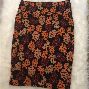 LulaRoe Floral Pencil Skirt Orange/Maroon/Black